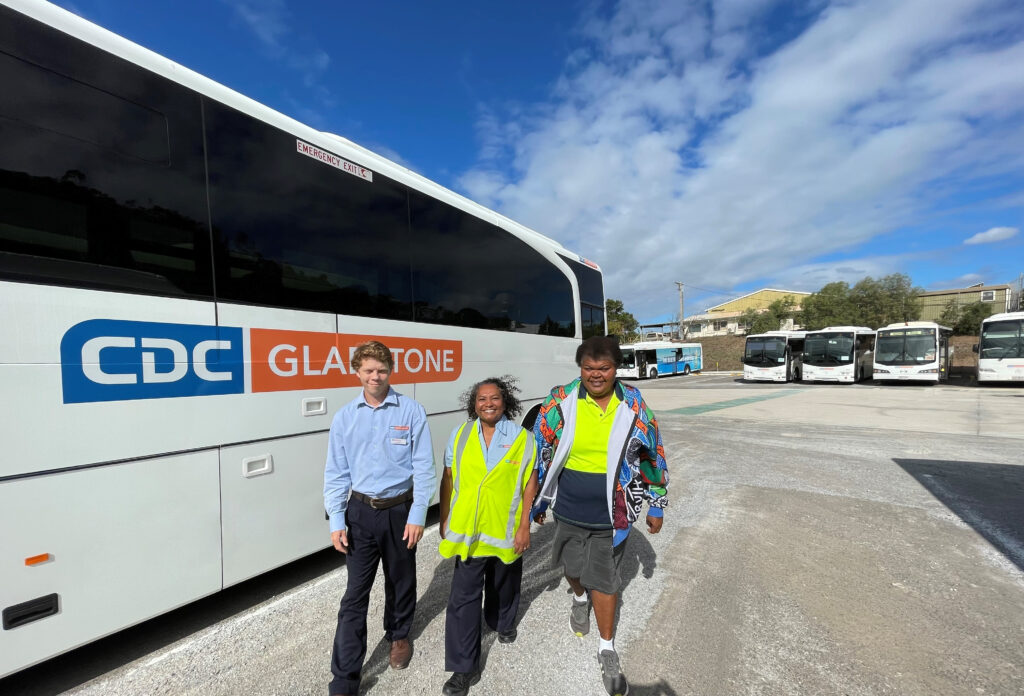 Jordon Standing In Front Of The CDC Gladstone Bus