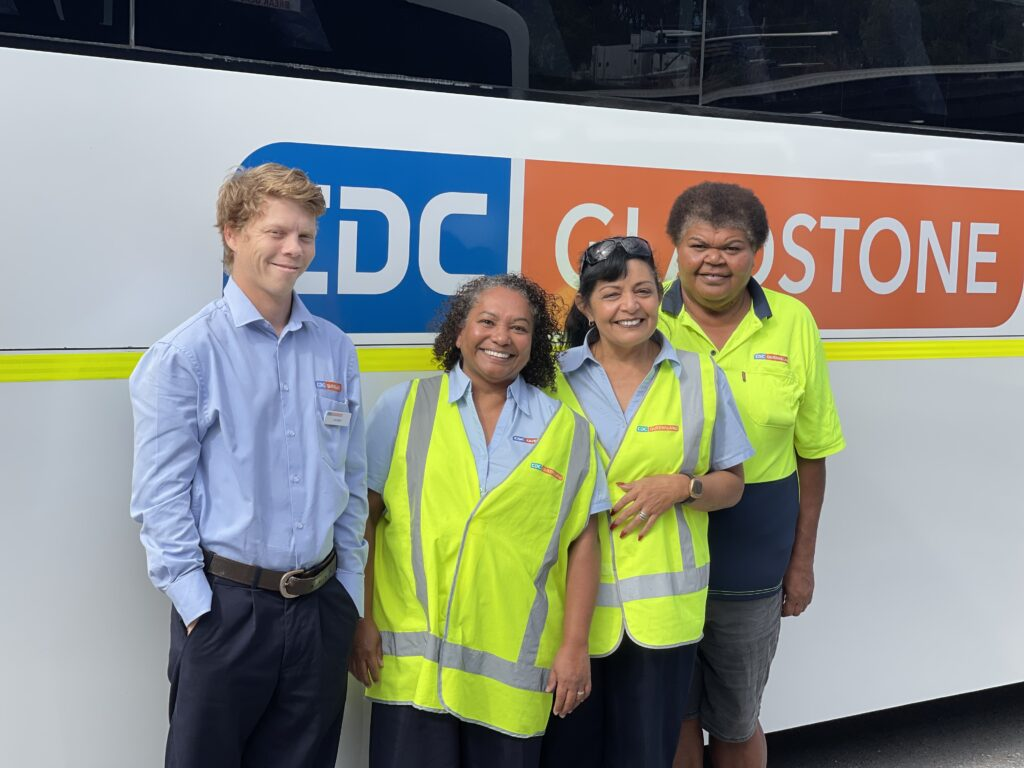 Lisa And Severina Smiling In Front Of A CDC Gladstone Bus