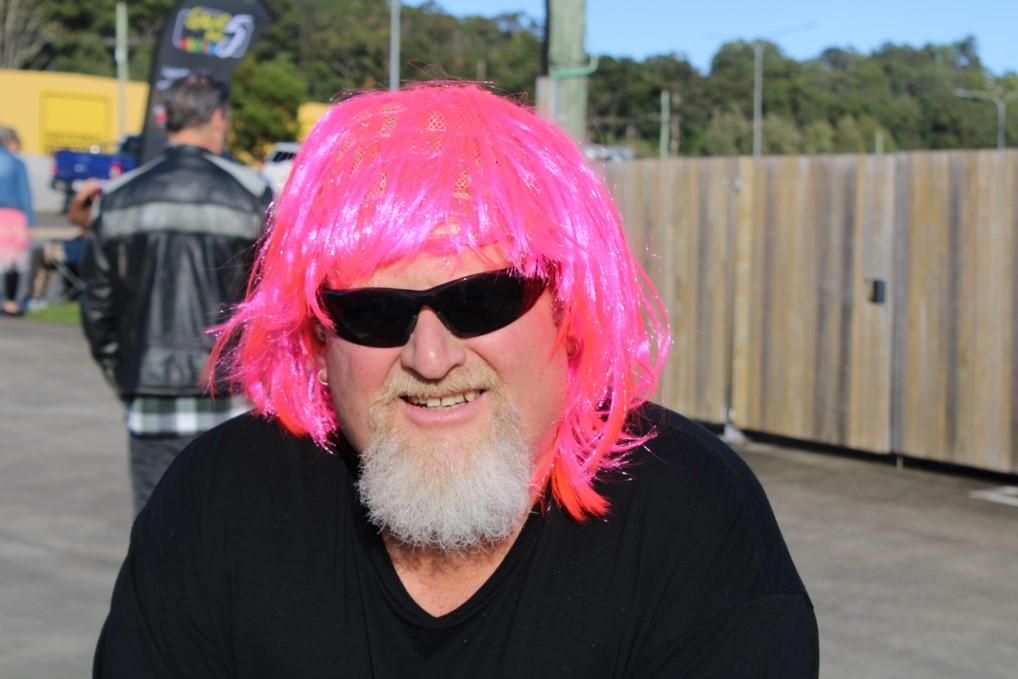 Steve Wearing A Pink Wig
